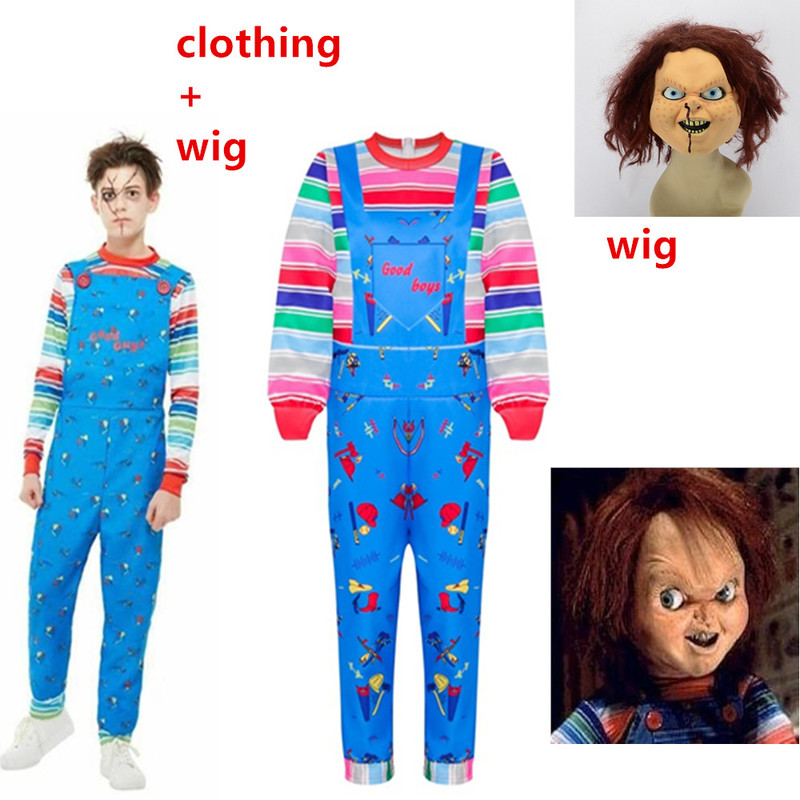 Halloween Cosplay Scary Costume For Kids Boys&Girls Child's Play Chucky Good Guys Cosplay Costumes Fake 2 Pcs+Chucky Brown Wig