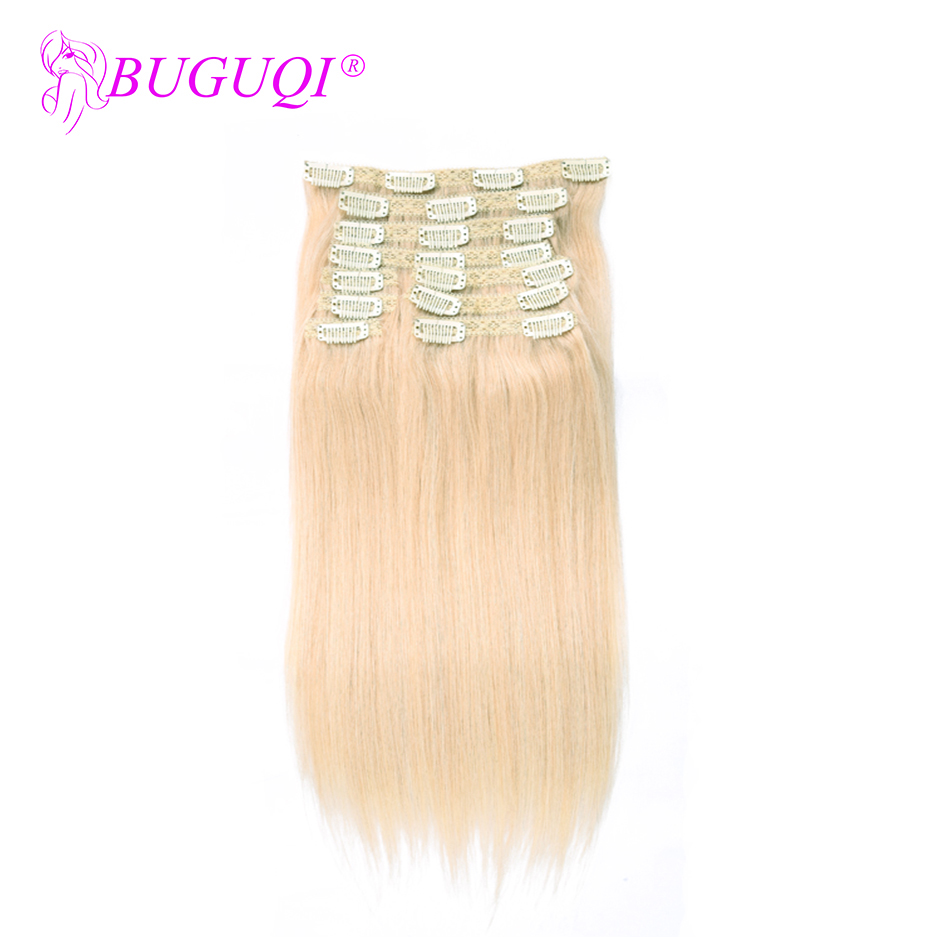 BUGUQI Hair Clip In Human Hair Extensions Brazilian #60 Remy 16- 26 Inch 100g Machine Made Clip Human Hair Extensions
