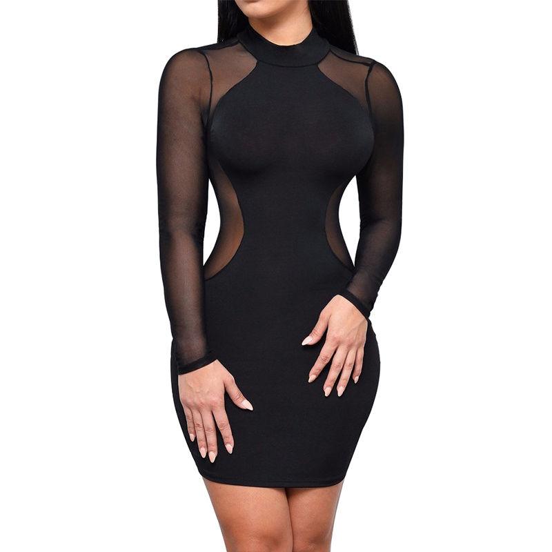 New Fashion Women Sexy Mesh Patchwork See Through Bodycon Mini Dress Long Sleeve Sheath Slim Evening Innrech Market.com