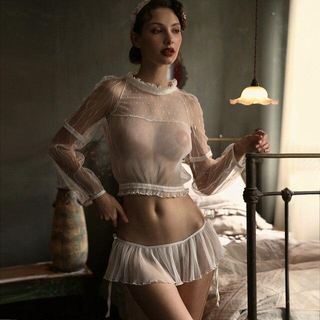 Sexy Pyjama Voor Vrouwen Zomer Slanke Transparant Kant Netto Lange Mouwen Tops En Ruches Verleiding Shorts Sexy Twee Stuk set