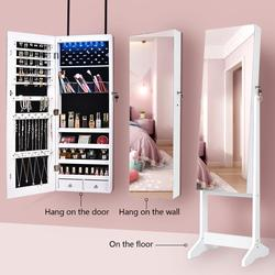 KingYee – meuble de chambre à coucher, miroir pleine longueur, armoire à bijoux, miroir vertical, boîte de rangement de bijoux verrouillable
