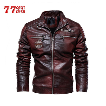 Leather Jacket Men Winter fleece Motorcycle PU Leahter jacket Male Stand Collar Casual Windbreaker ropa de hombre Slim Coat