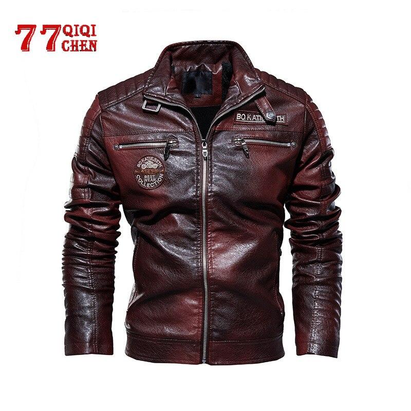 Chaqueta de cuero de PU táctica para hombre, chaqueta de cuero de invierno, chaqueta de cuero Casual militar, cazadora de motocicleta para hombre