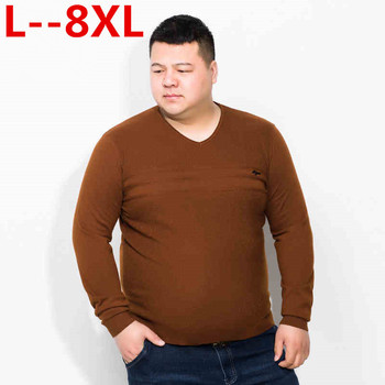 Plus size 10XL 8XL 6XL 5XL Sweater Men Autumn Winter New Pullover Men Knitted Sweater Loose Fit Male Plus Size High Quality фото