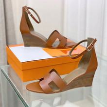Wedges Sandals Women Genuine Leather Shoes High Heels 7cm Summer New Design Ladies Sandals Slides Luxury Brand Chic Woman Shoe
