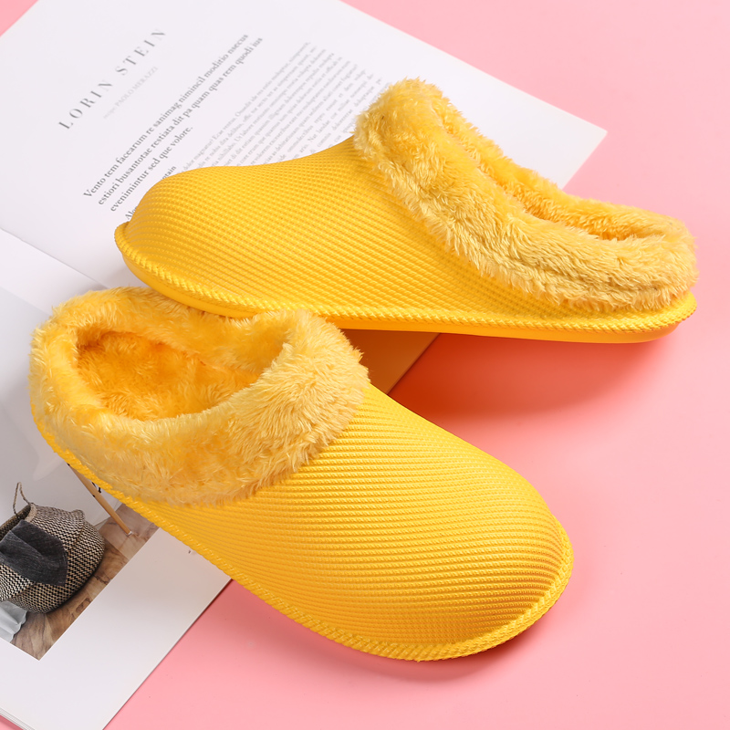 Men Slippers Winter Men Cotton Slippers Warm Couple Cotton-padded Shoes Male Waterproof Candy Color Home Slippers Bread Shoes