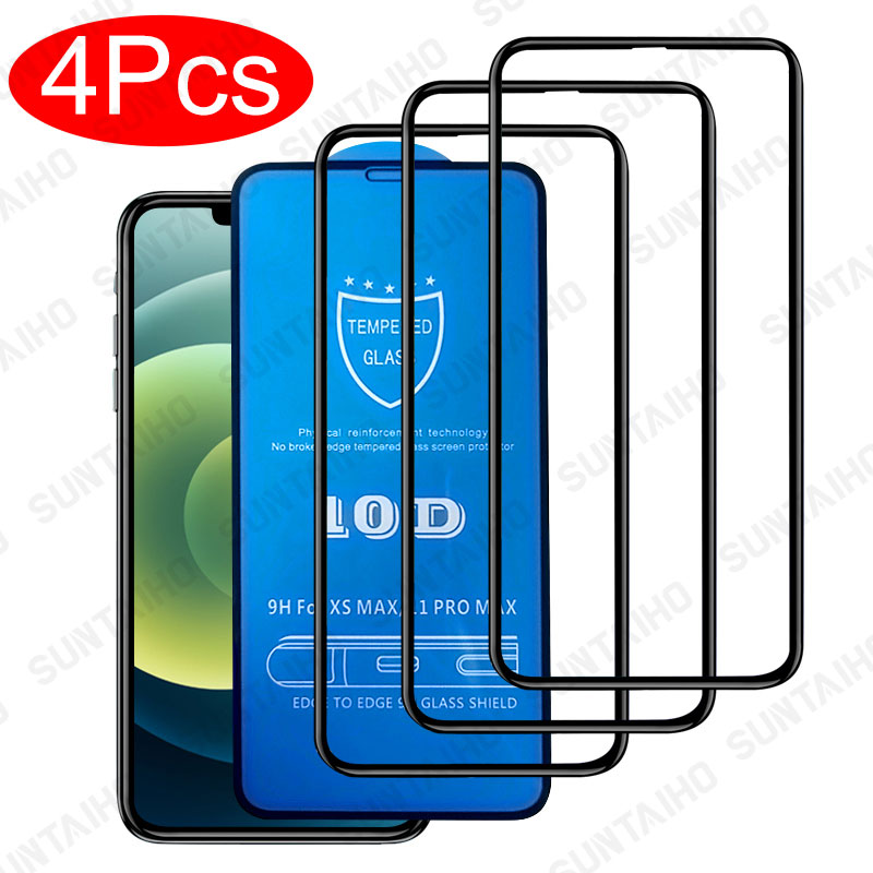 4Pcs 10D Full Cover Tempered Glass for iphone 12 11 Pro Max 12 mini Screen Protector Glass for iphone 7 8 6s Plus X XR XS Glass