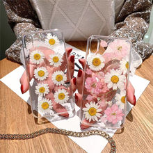 Jamular epoxy daisy Real Flower Silicone phone case for iphone 6 6s 7 8 Plus X XR XS MAX cute girl style cover