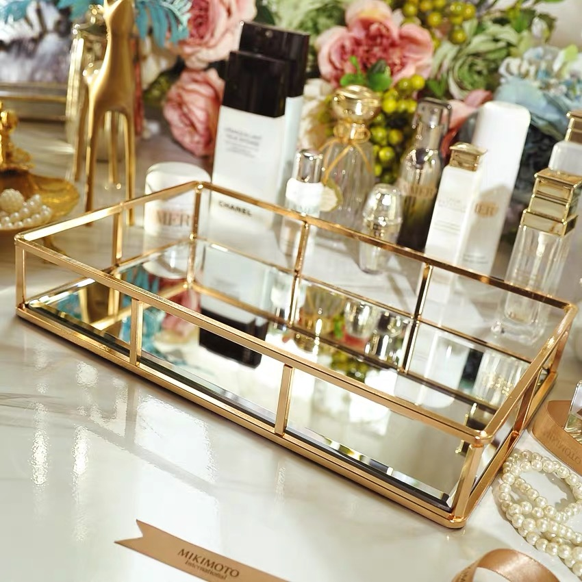 Boîte de rangement Vintage en verre métal   Vintage, plateau en or, bijoux, cosmétiques présentoir, plateau de rangement des cosmétiques, organisateur de cuisine, décor de la maison