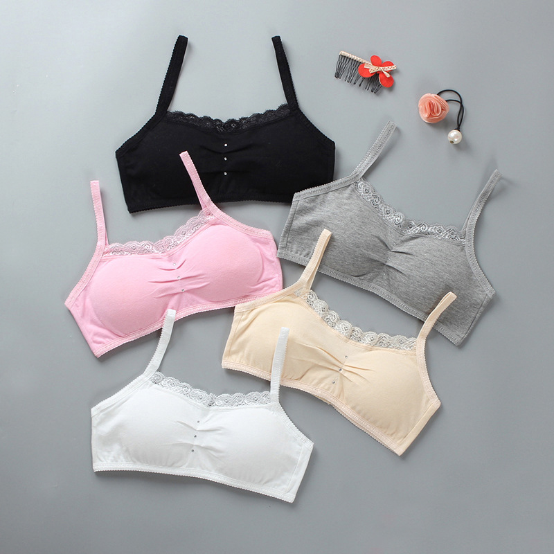 Teenage Young Girls Lace Bra Student Cotton Underwear Solid Color 8-16 Years New