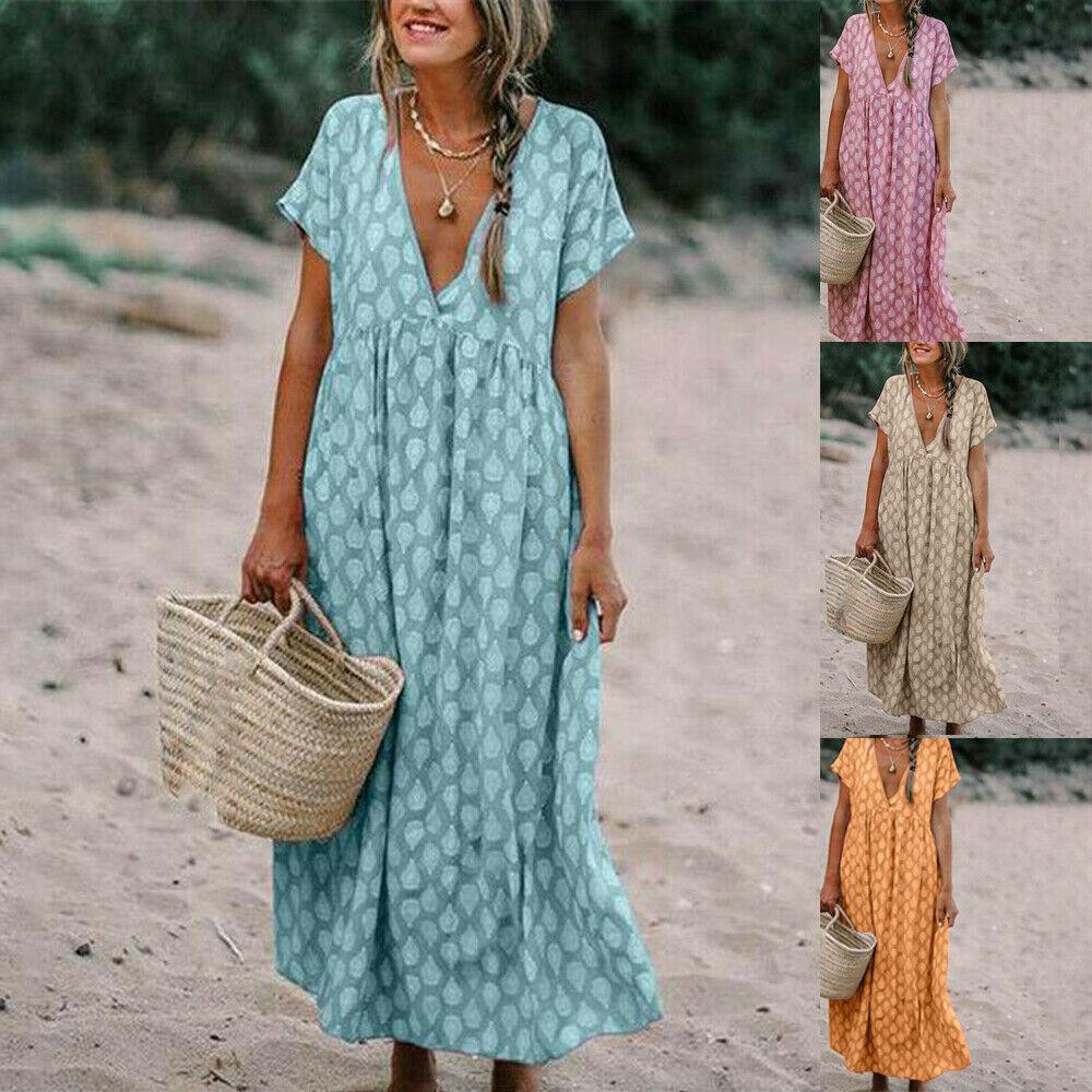 Womens Boho Floral Fashion Baggy Tunic Dress Loose Kaftan Beach Holiday Sundress