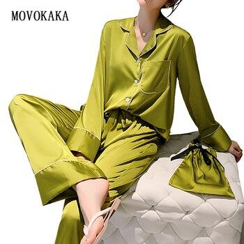New Spring Autumn Womens Pajama 2 Piece Sets Loose Sleepwear Nightwear Satin Pajamas Homewear Sexy Silk