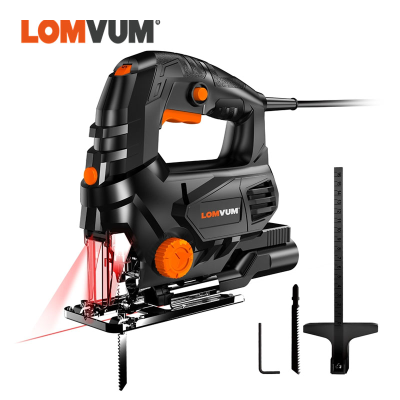 LOMVUM Laser Jig Saw Power Tool Machine Electric Saw With Laser Guide Jig Saw For Metal Wood Steel Cutter Blades For Woodworking