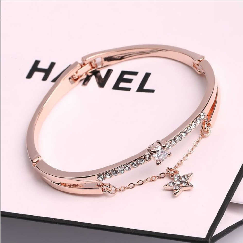 Hots Luxury Rose Gold Stainless Steel Bracelets & Bangles Female Heart Forever Love Brand Charm Bracelet For Women Gifts