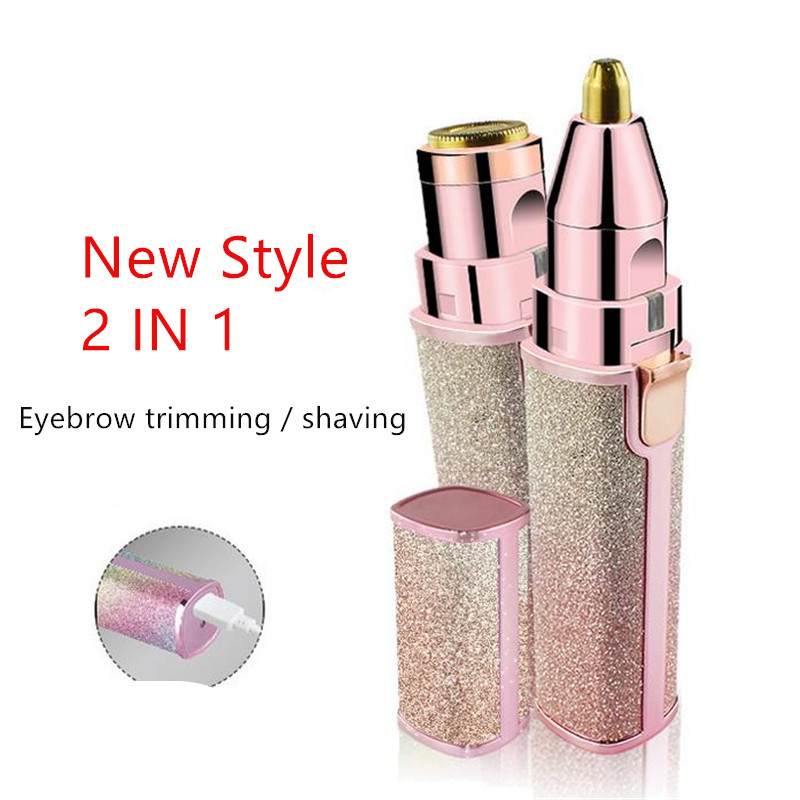 Protable 2 IN 1 Electric Epilator Eyebrow Trimmer Female Body Facial Lipstick Shape Hair Removal Women Painless Razor Shaver 40#