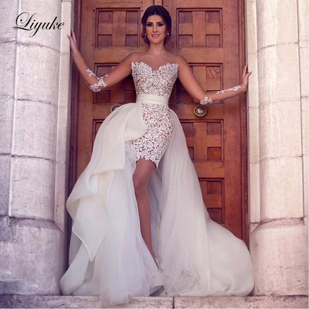 Liyuke Scoop Neckline Of 2 In 1 A Line Wedding Dress With Detachable Skirt Of Bridal