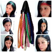 Женские Модные кожаные мешочки для девочек, двойная повязка на голову в виде косички разных цветов