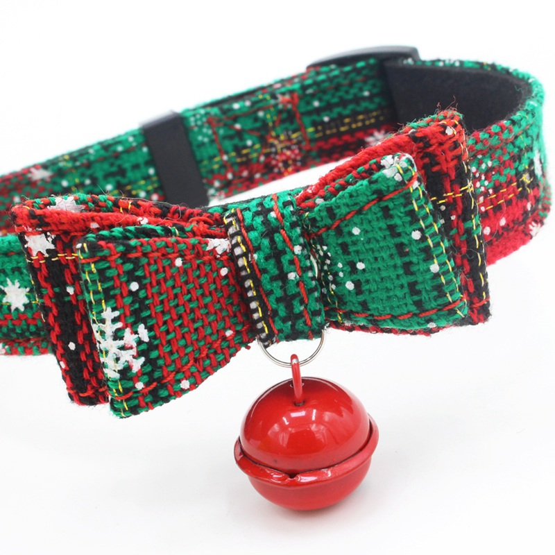 Small And Medium <font><b>Dog</b></font> <font><b>Collar</b></font> With Belt <font><b>Set</b></font> Double Bow And Bell Adjustable Christmas <font><b>Collar</b></font> <font><b>Dog</b></font> <font><b>Collar</b></font> Pet Products1 image