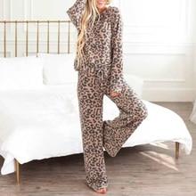 2Pcs Women Leopard Print Tracksuit Sets Casual Night Wear Suits Round Neck Sweatshirt Drawstring Elasticised Waist Long Pant D25 active round neck drawstring waist tracksuit in beige
