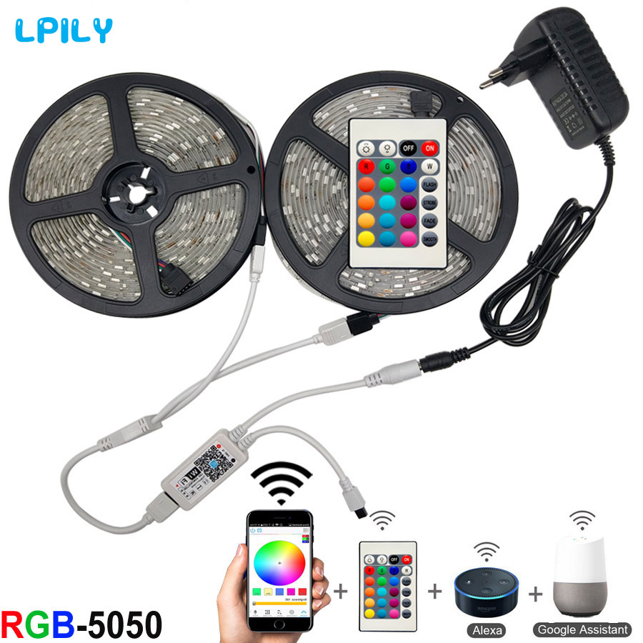 5m 10m 15m WiFi LED Strip Light RGB Waterproof SMD 5050 RGBW/RGBWW LED Lights Strip Tape DC 12V+ Remote Control + Adapter EU