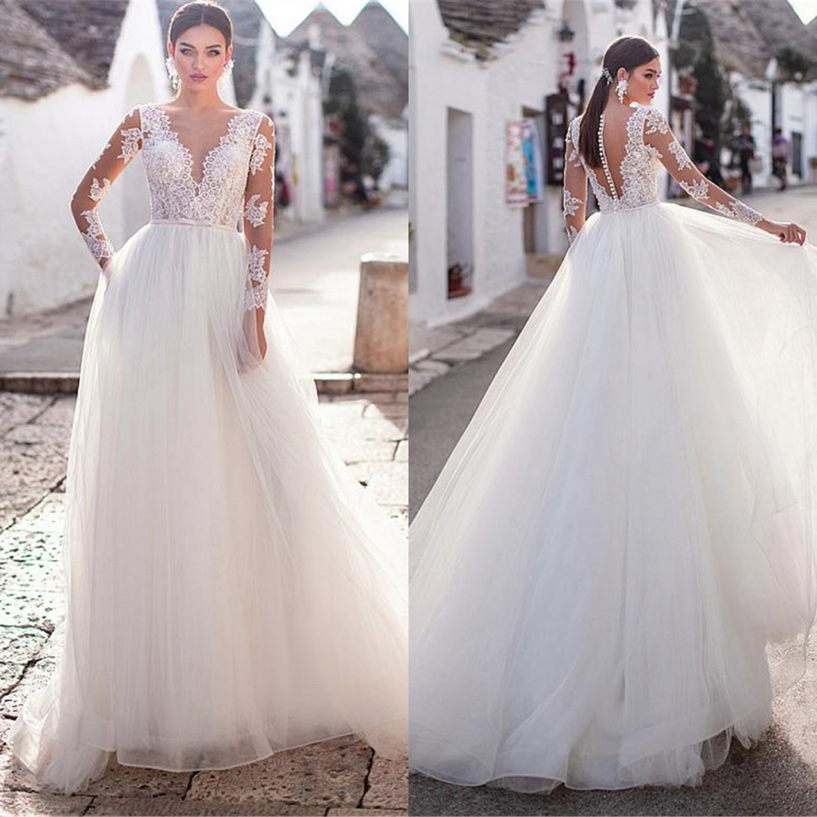 Sexy V-neck Tulle With Applique Lace A-line Wedding Dress Long Sleeve Button Back Design Wedding Gowns Robe De Mariee 2019