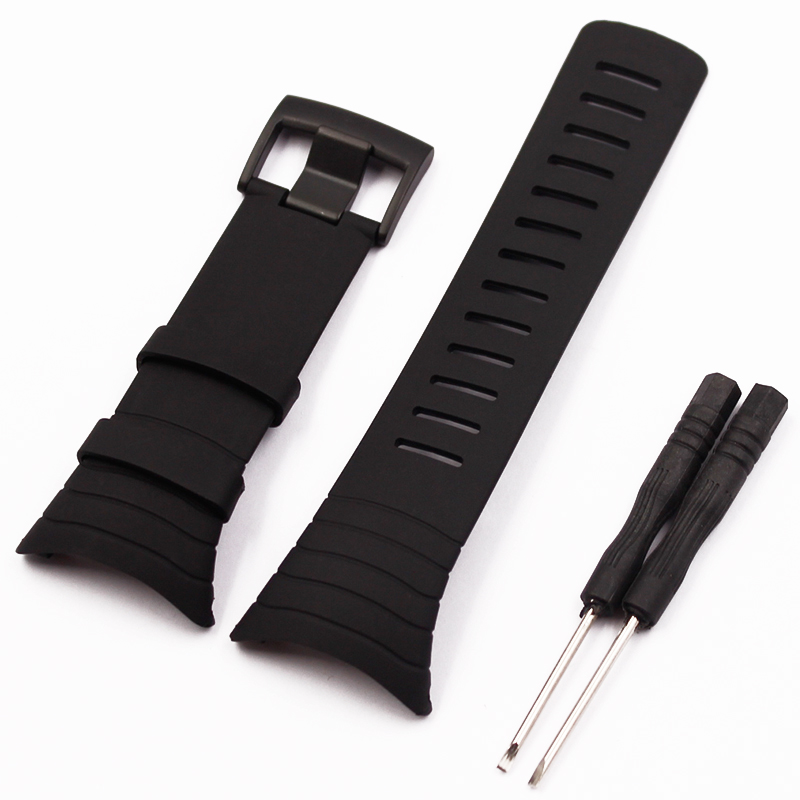 New Watch Accessories Black Rubber Strap Black Waterproof Durable Watch for SUUNTO Core Strap Men's Watch Wrist Strap No Screws