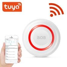 Tuya wi fi botão sos botão de emergência sem fio alarme em casa alarme do assaltante sensor 2.4g sos senspr botão de pânico sos