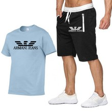 2021 popular new brand printed cotton men's t-shirt + sports shorts suit high-quality pure cotton sports running t-shirt