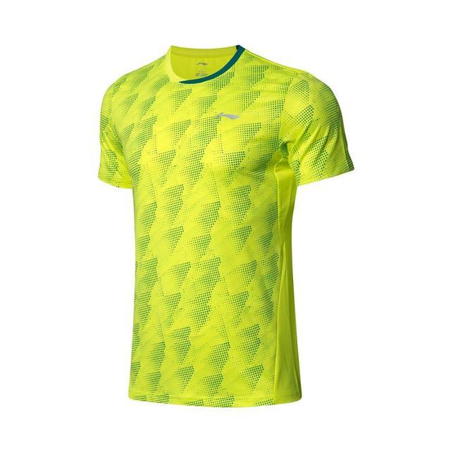 Li-ning hommes Badminton compétition T-Shirts 88% Polyester 12% Spandex doublure Li Ning à sec basique sport T-Shirts AAYP063 MTS3051