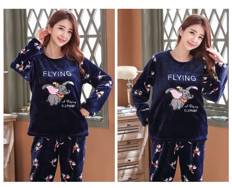 Long Sleeve Warm Flannel Pajamas Winter Women Pajama Sets Print Thicken Sleepwear Pyjamas Plus Size 3XL 4XL 5XL 85kg Nightwear 374