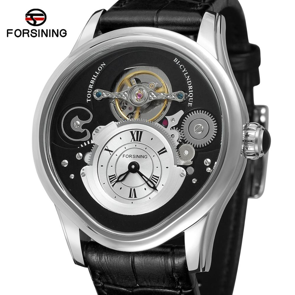 Forsining Silver Tourbillon Design 316 Full Stainless Steel Case Genuine Leather Belt Men Automatic Watches Top Brand Luxury