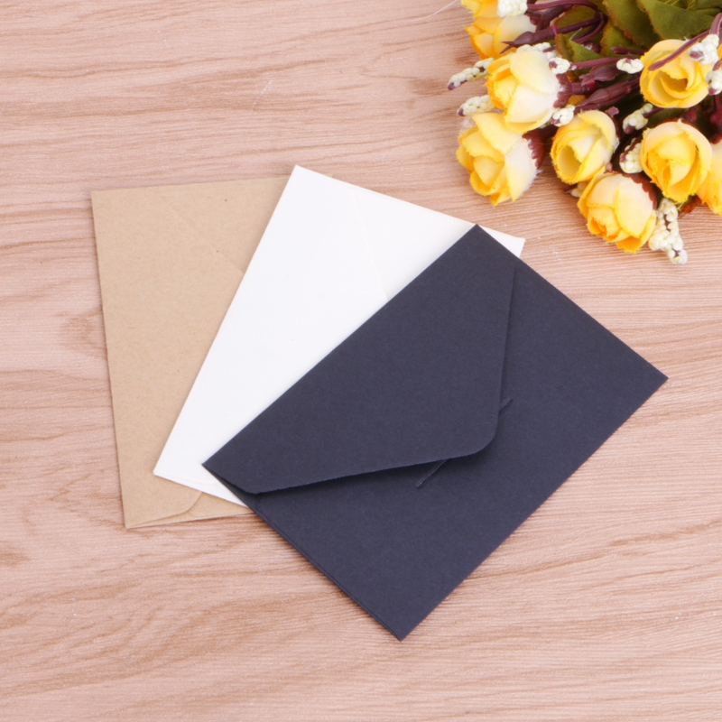 50pcs 10.5x6.8cm Craft Paper Envelopes Vintage European Style Envelope For Card Scrapbooking Gift