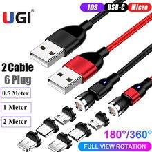 UGI 2 Gói (2 + 6 Cắm) 3in1 Sạc Nhanh Từ Cáp Cho IOS Cáp Type C C Cáp Micro USB Cáp Android Di Động