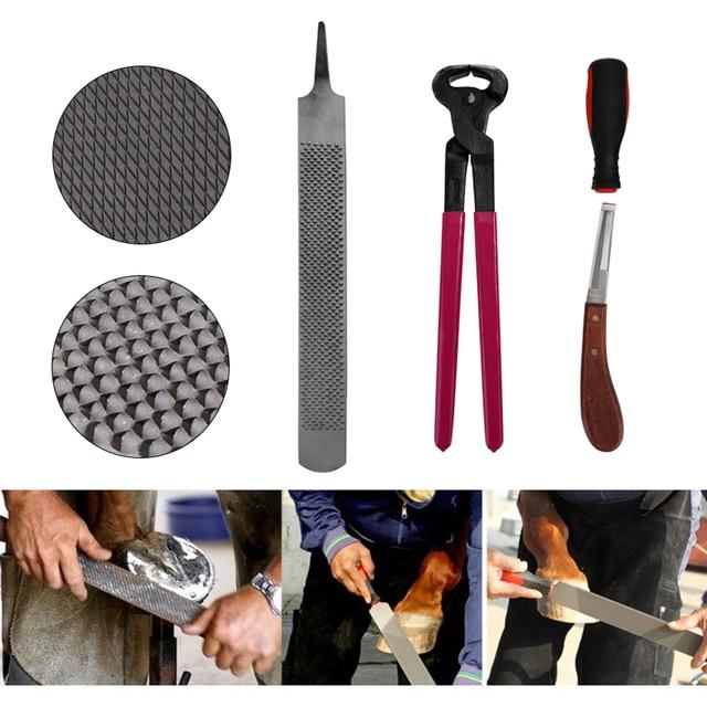 4PCS Horse Farrier Hoof Nipper Trim Shoeing File Rasp Handle Hoof Cutter Tool - Horse Care Accessory 1