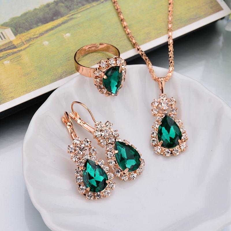 Jewelry-Sets Rhinestones Earrings/rings Water-Drop Black White Purple Women Blue