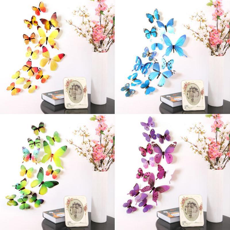 12pcs/set PVC 3D Butterfly Wall Sticker Labels Kids Room Decor Wall Decals Magnet Window Fridge Stickers Wallpaper Home Decor