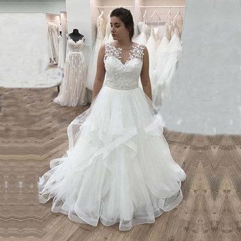 A Line Plus Size Wedding Dresses 2020 Lace Appliques O Neck Sleeveless Tulle Wedding Gowns Formal Bride Dress Vestido de Noiva a line tulle wedding dress 2019 princess wedding gowns v neck sleeveless backless bride bridal dresses vestido de noiva