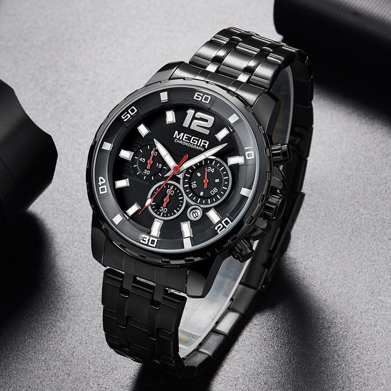 MEGIR Black Stainless Steel Mens Watches Top Brand Luxury Luminous Waterproof Quartz Watch Man Relogio Masculino Dropshipping