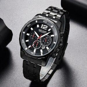 Image 1 - MEGIR Black Stainless Steel Mens Watches Top Brand Luxury Luminous Waterproof Quartz Watch Man Relogio Masculino Dropshipping
