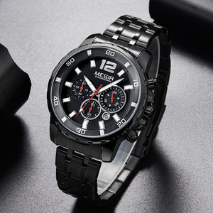 Image 1 - MEGIR noir acier inoxydable hommes montres haut de gamme de luxe lumineux étanche montre à Quartz homme Relogio Masculino livraison directe