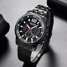 Megir Zwart Rvs Heren Horloges Top Brand Luxe Lichtgevende Waterdichte Quartz Horloge Man Relogio Masculino Dropshipping