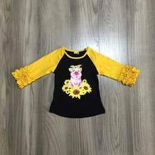 Girlymax Fall/winter baby girls children clothes boutique cotton top t-shirt raglans icing sleeve black mustard pig sunflower(China)