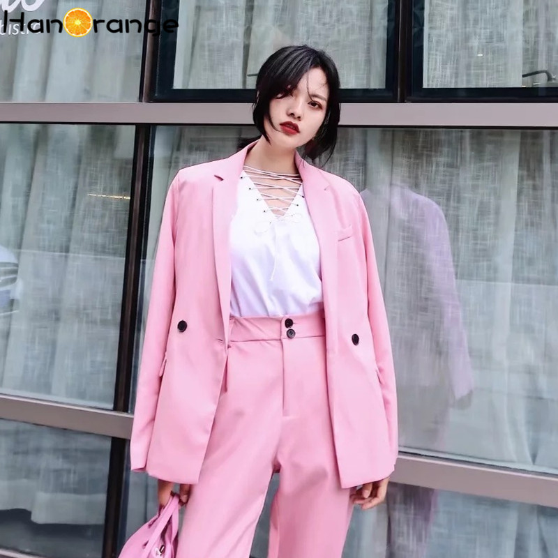 Candy Color Leisure Blazer Tops Long Sleeve Loose Spring Autumn Jacket