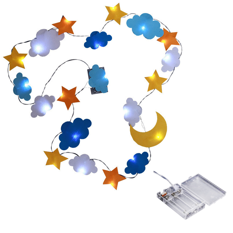 LED Decorative Lamp Star Moon Cloud Decorative Light Nonwovens Holiday Kids Room Tent Decorative Lights