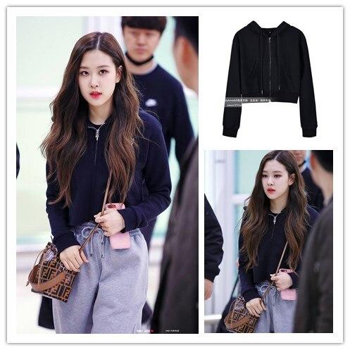 Kpop Blackpink Rose Same Black Elegant Gothic Style Zipper Hoodies Women's Fashion Autumn Warm Hooded Sweatshirts Ladies Clothes