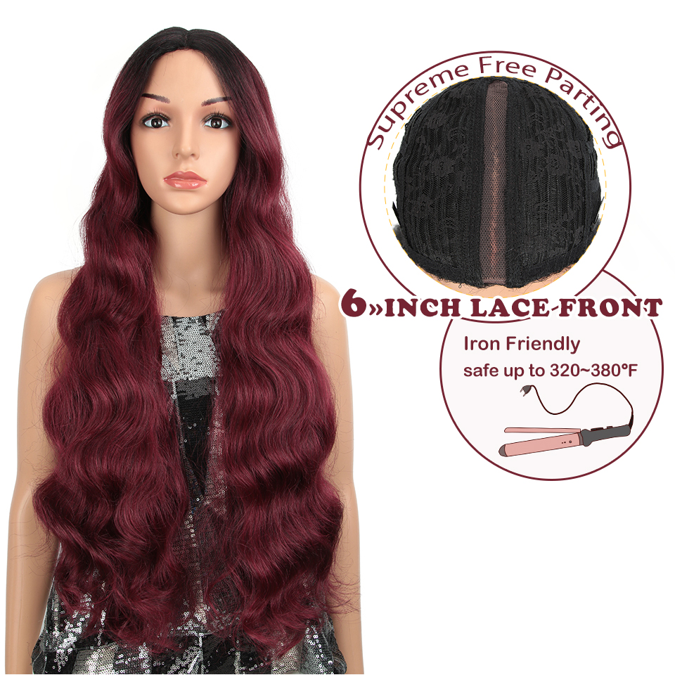 "MAGIC 28""Inch 6 COLRO Long Wavy Wig For Black Women Synthetic Blonde Cosplay Wigs Heat Resistant African American Synthetic Wig"