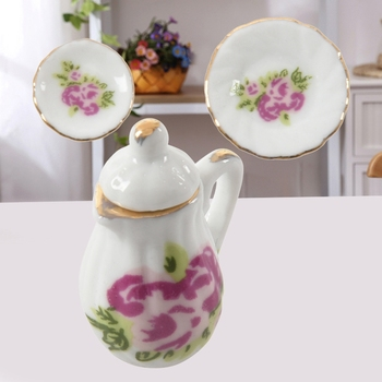 New 15 pieces Porcelain tea set Dollhouse miniature foods Chinese rose dishes cup