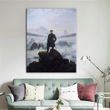 Wanderer Above The Sea of Fog Famous Paintings Canvas Painting Art Posters and Prints Wall Pictures Cuadros for Living Room