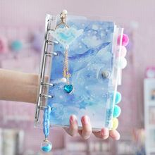 A6 Spiral Notebook Kawaii Ocean Planner Cherry Bullet Diary Organizer Square Binder Small Clear