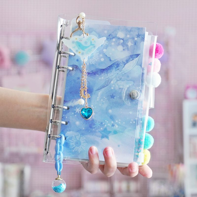 A6 Spiral Notebook Kawaii Ocean Planner Notebook Cherry Bullet Diary Notebook Planner Organizer Square Binder Small Clear Diary